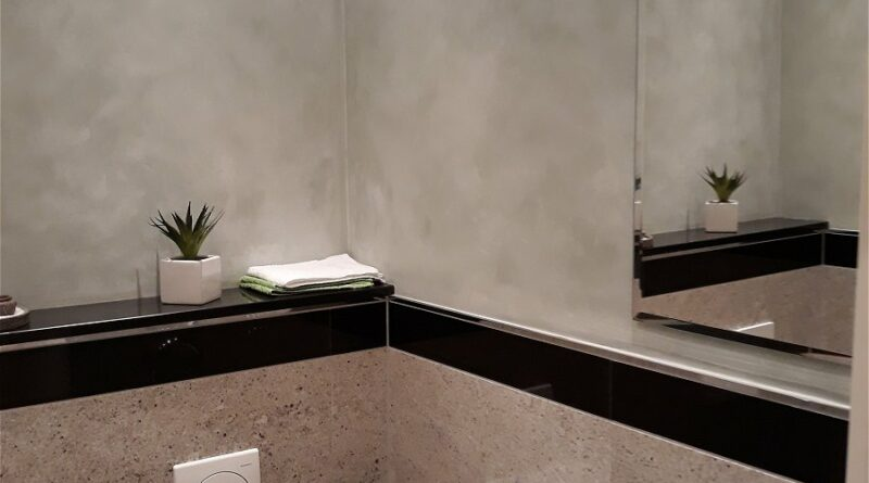 Wandgestaltung mit Spachteltechnik - Gästetoilette